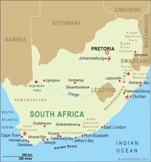 bron map Zuid Afrika www.wordtravels.com