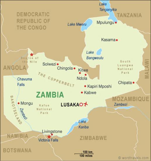 Bron map Zambia www.wordtravels.com